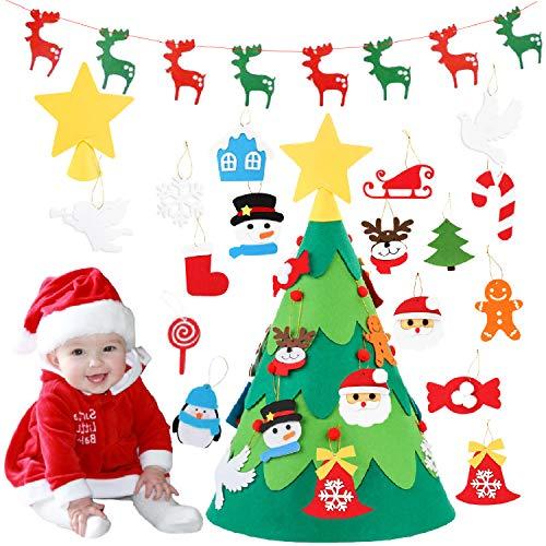 Monuary albero di natale in feltro diy con 18 pezzi ornamenti staccabili, alberi natale rimovibili in 3d con 1 pezzo banner di natale, albero natale feltro regalo per bambini