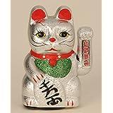 Mel-O-Design - Gato chino (18 cm, con pata móvil), color plateado
