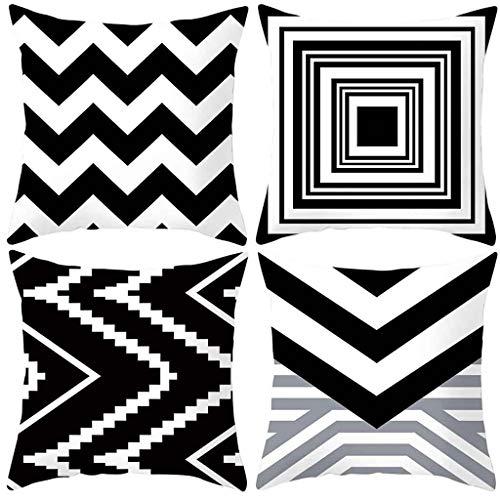 OPAKY Geometrische Kissenbezug schwarz und weiß Polyester Throw Square Kissenbezug 18 \'\'