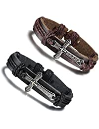 JTrendy Pack of 2 Cuff Leather Bracelet with Engraved Christian Scriptures Cross,Black & Brown