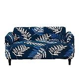 SSDLRSF Sofabezug Deep Blue Elastic Schöne Blattmuster Geeignet für Einzel- / Doppel/DREI / Vier-Sitz-Maschine waschbar