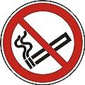 Verbotszeichen - Rauchen verboten - Ø 20 mm - 216 Verbotsschilder aus Polypropylen Folie, weiß (Aufdruckfarbe: schwarz/rot), selbstklebend