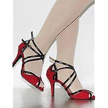 Moda moderna sandalias mujer personalizables Zapatos de Baile latino/Dance Sneakers gamuza Stiletto talón rojo,rojo,US8/EU39/UK6/CN39
