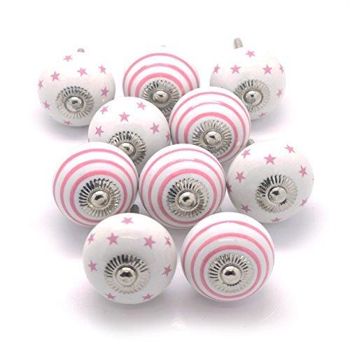 Pushka Home 10er-Set rosa & weiß Candy gestreift und Sterne Keramik Schrank Knaufe für die Dekoration Möbel trg. verkauft als ein 10er Packung Spaß pink Griffe angezeigt 40mm Durchmesser Knöpfe Set