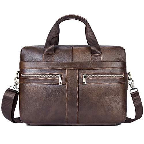 Peggy Gu Messenger Handtasche Herren Aktentasche aus Leder Messenger Bag Tote Retro Large Capacity Tote Geschäftsorganisator (Farbe : Braun, Größe : Free Size)