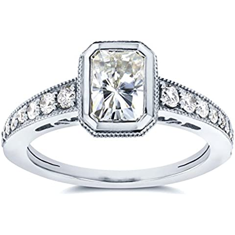 Moissanite, rosa, lunetta con diamanti 1 & Anello solitario 1/2 CTW in oro bianco 14 k - Lunetta Diamante Solitario Anello