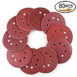 80 discos de lijado para lijadora orbital, 8 agujeros, 40 60 80 100 120 150 180 240 320 400 grados, surtido para lijadora orbital al al azar (125 mm)