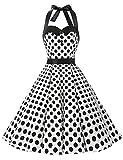 Dressystar Vintage Tupfen Retro Cocktail Abschlussball Kleider 50er 60er Rockabilly Neckholder Weiß Schwarz Dot XXL