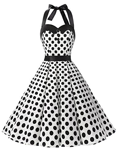Dressystar DS1957 Robe de Bal Polka Vintage pin-up à 'Audrey Hepburn' 50's 60's Rockabilly Halter,Dos Nu, Blanc à Pois Noir XS