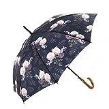 MARY SAM'S Designer Regenschirm für Damen und Herren | Regenschirm Blumen Rosen Vintage rosa romantisch Blumengarten Stockschirm sturmfest windsicher automatik stabil leicht Fiberglas Holzgriff
