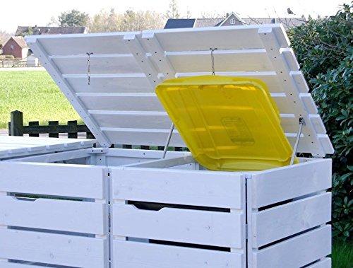4er Mülltonnenbox / Mülltonnenverkleidung 120 L Holz, Deckend Geölt Weiß - 2