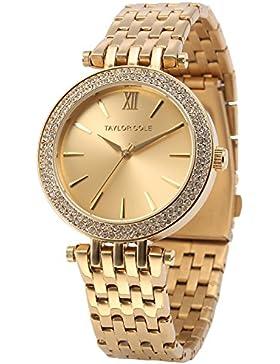 Taylor Cole Damen Armbanduhr XL Edelstahl Uhrband Golden TC001