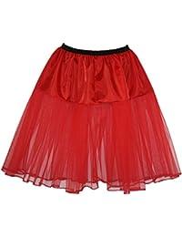 24 inch Red Petticoat Skirt Rock N Roll Fancy Dress Underskirt Adults