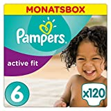 Pampers Active Fit Windeln, Gr.6, Extra Large 15+kg, Monatsbox,1er Pack (1 x 120 Stück)