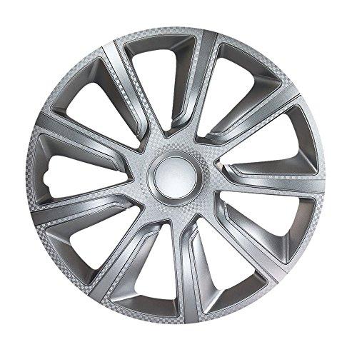 4X Radzierblenden 15 Zoll VERON Carbon Silber passend für z.B. Opel für Corsa C