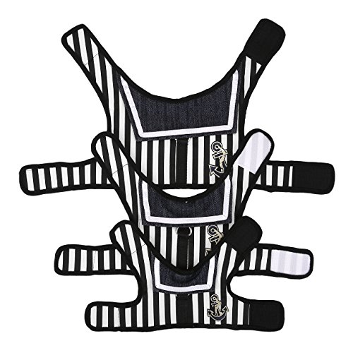 Mogoko Haustier Hunde Verstellbar Harness Hundegeschirr Welpengeschirr Softgeschirr Brustgeschirr Kleidung für kleine Hunde Katze Weste Geschirr mit Leine Set gestreiftes Matrosendesign-Geschirr mit Leine im Set, Netzstoff, Gepolstert (M, Schwarz) - 2