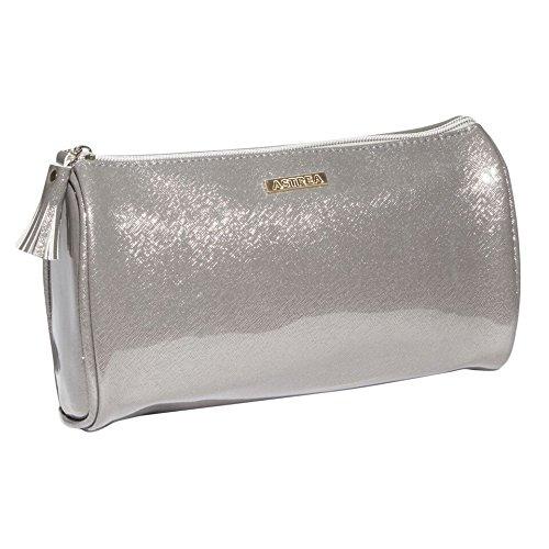 SANJO Perlglanz-Finish Kosmetiktasche mit Farbe kodierten zip-pull Quaste und Futter, groß, silber, 23x 10x 15cm