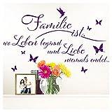 Grandora W5438 Wandtattoo Spruch Familie ist I violett (BxH) 125 x 79 cm I Wohnzimmer Aufkleber Flur selbstklebend Wandaufkleber Wandsticker