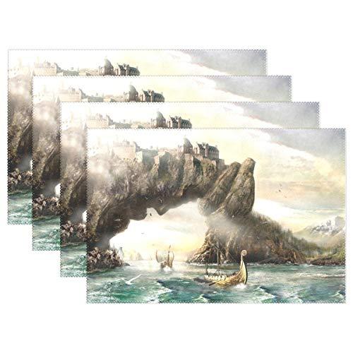 Promini Hitzebeständige Tischsets Vikings Dragon Boot Landscape waschbar Polyester Tischmatten Rutschfest waschbar Tischsets für Küche Esszimmer 4 Stück (Nissan Altima 08)