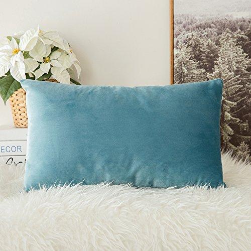 Miulee confezione da 1 federa in velluto copricuscino decorativo fodera quadrata per cuscino per divano camera da letto casa auto 30x50cm verde chiaro