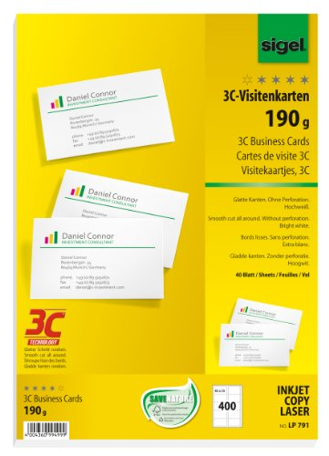 SIGEL LP791 Visitenkarten 3C, 400 Stück (40 Blatt), hochweiß, glatter Schnitt rundum, 190 g, 85x55 mm - weitere Stückzahlen