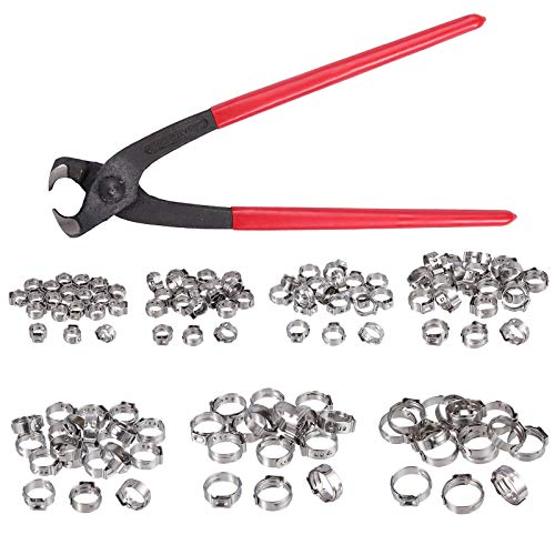 Proster Single Ear Stepless Hose Clamps 130PCS 6-21mm 304 Stainless Steel  Cinch Clamp Rings Single Ear Hose Clamp Crimper Tool Kit