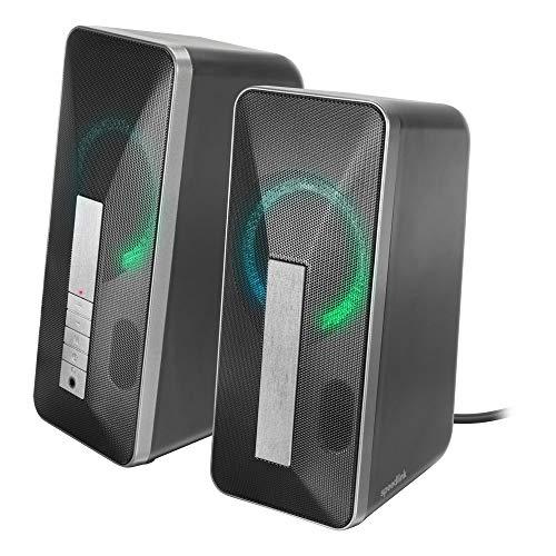 SPEEDLINK Lavel Stereo Speaker - Lautsprecher für PC, Bluetooth und Klinkenanschluss (Anschlussmöglichkeit für Kopfhörer - LED-Beleuchtung mit Fortlaufendem Farbewchsel - 2m Kabellänge), schwarz