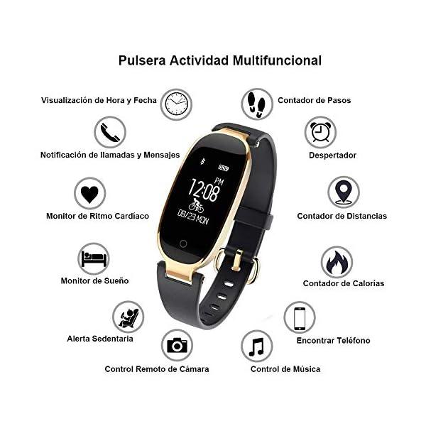 Rayfit Pulsera Actividad Reloj Inteligente Mujer Monitor de Ritmo Cardíaco Fitness Tracker Contador de Calorías Pasos Monitor de Sueño Podómetro Ejercicios Salud Pulsera Deportiva Pulsómetros 2