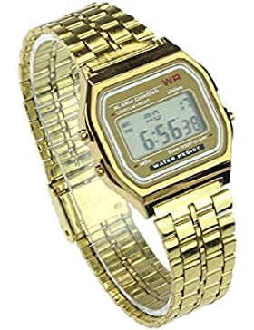 Culater® Retro Herren Damen Luxus Edelstahl digital Uhr Armbanduhren Stoppuhr gold