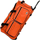 Deuba XL Reisetasche | mit Trolleyfunktion | Rollen mit Kugellager | Teleskopgriff | abschließbar 85 Liter in Orange Sporttasche Reisetrolley Gepäcktasche