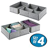 mDesign 4er-Set Stoffbox für Schrank oder Schublade mit 1 bzw. 4 Fächern – die ideale Aufbewahrungsbox (Stoff) – flexibel verwendbare Stoffkiste – grau