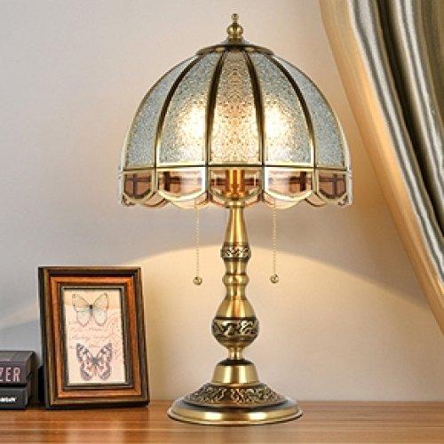 Beleuchtung Reiner Diamant (WFL Kupfer Schlafzimmer Nachttischlampen neo-klassischen Luxus Retro warme Hochzeit heiratete Kupfer Tischleuchte,Reiner Kupfer-D,cm)