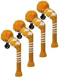 Scott Edward Housses de tête de club de golf hybride/utilitaires, 4 pièces Emballé, Blanc Argyle, fil Acrylique Double-layers en tricot, avec rotatif Nombre balises, Orange