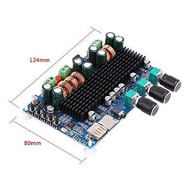 Carte Amplificateur de puissance, carte amplificateur numérique à 2.1canaux Sortie USB TF USB 50W + 50W Sortie Stéréo 100W pour caisson de basses par Hilitand