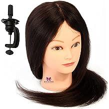Neverland Beauty Cabeza Maniquí Peluqueria 55cm 70% Pelo Natural Humano Practicas Formación Muñeca de la Cosmetología (con soporte) #2