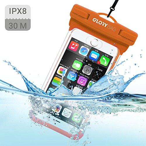 Glorybag - Premium wasserdichte Handyhülle - mit Touch ID Fingerprint - hochwertiges Handycase - optimale Schutzhülle praktischen Outdoor-Einsatz für alle Smartphones (Orange) -