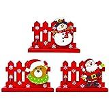 Amosfun 3pcs Porta Biglietti da Visita di Natale Porta Recinzione in Legno Porta Biglietti di Auguri Porta Carte di Natale per la Decorazione della tavola di Natale