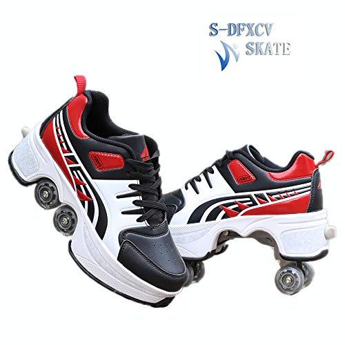 Einstellbare Quad Roller Skates Stiefel, 2-in-1-Mehrzweckschuhe, Wanderschuhe Inline Skates Quad Skate Outdoor Skating Wanderschuhe,Red-41