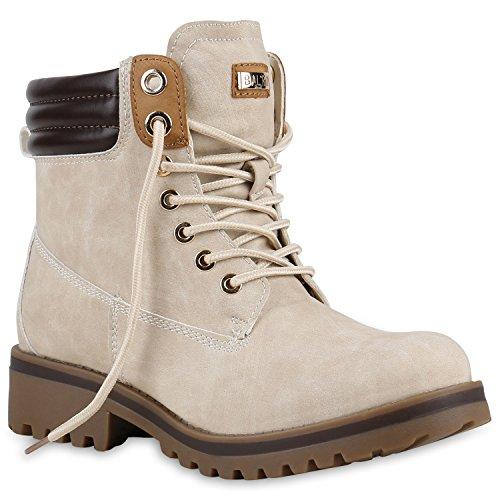 Warm Gefütterte Stiefeletten Damen Worker BootsOutdoor Winterstiefel Schnür Wildleder-Optik Schuhe 125749 Creme 38 Flandell