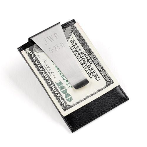Creative Structures Personalisierte genarbten Leder Kreditkarte Brieftasche Halter und Gravur Metall Geld Clip