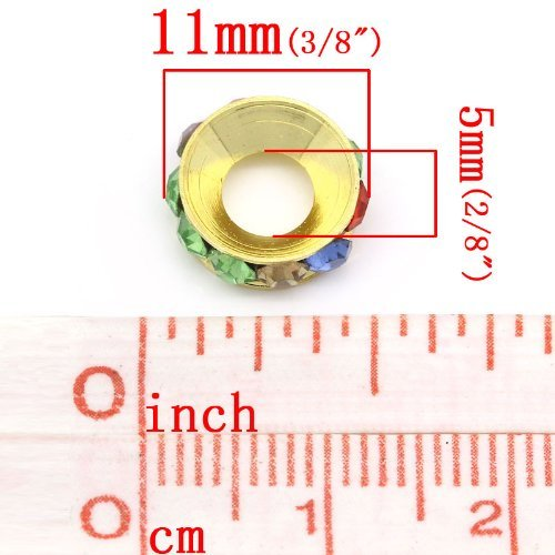 Sexy paillettes femmes de Rhin Rondelles Perles Intercalaires Rond gold multicolor