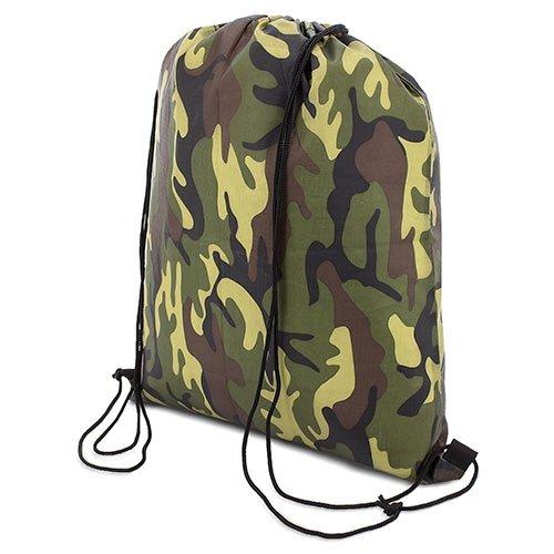 My Custom Style® Sacco borsa zaino a spalla MIMETICO in versione neutra non stampata, da cm 34x39,5, per palestra, mare, piscina , sport o tempo libero. Lo zainetto sportivo è in poliestere,con laccet