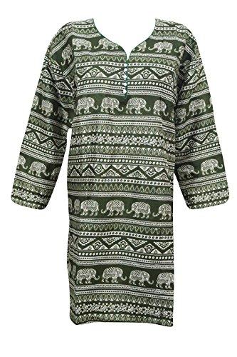 "Indiatrendzs Women Green Animal Print Rayon Full Sleeve Kurta 46\"""