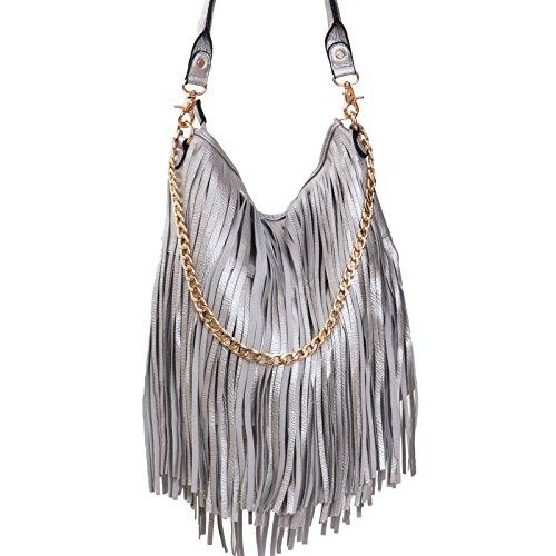 Toocool - Borsa donna a spalla frange catena dorata manico zip hobo bag nuova C2800 Argento