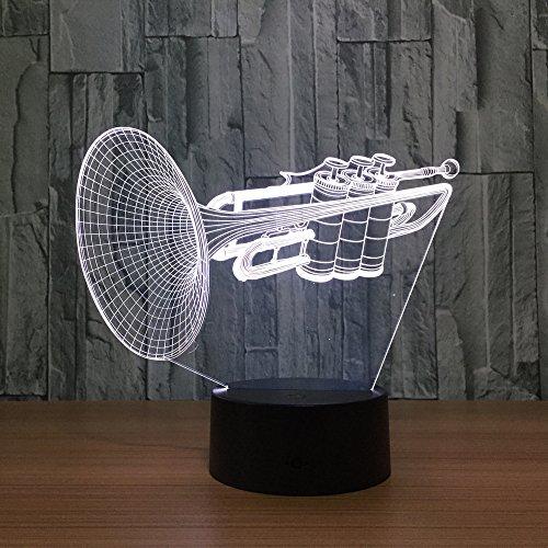 3d Lampe Instrument Trompete 3D Led Nachtlicht 7 Farbwechsel Schreibtisch Tischlampe Musikinstrumente Innenausstattung Heimtextilien Halloween Geschenk