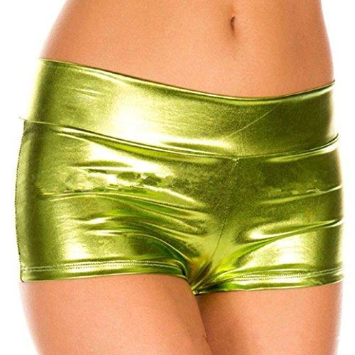 Dessous Damen Reizvolles Erotik Sunday Metallische Rave Booty Dance Shorts Nachgemachte Licht Frauen Kurze Unterwäsche Unterhosen (Gelb, Freie Größe) (Vor Bootie)
