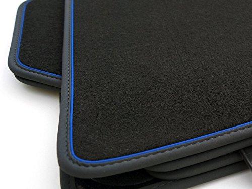 kh Teile Fußmatten / Velours Automatten Premium Qualität Stoffmatten 4-teilig schwarz Nubukleder Einfassung mit blauem Band