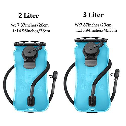 Trinkblase 3L 3 Liter Tragbare Wasserbeutel Wasserblase, GoFriend® Sport Wasser Blasen für den Außenbereich wie Wandern, Laufen, Camping, Radfahren (BPA-frei und FDA-Zertifizierung) blau-2L