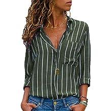 AitosuLa Bluse Gestreift Damen Hemd Oberteile V-Ausschnitt Lose Casual  Chiffon Langarm T-Shirt 5cdecd523a