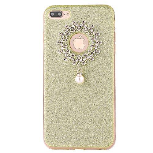 Clear Crystal Rubber Protettivo Case Skin per Apple iPhone 7Plus 5.5(NON iPhone 7 4.7), CLTPY Moda Brillantini Glitter Sparkle Lustro Progettare Protezione Ultra Sottile Leggero Cover per iPhone 7Pl Verde 1